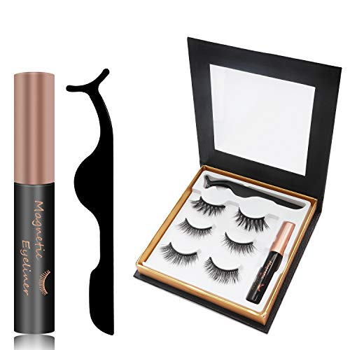 Magnetic eyelashes with eyeliner, 3 pairs of 3D reusable magnetic false eyelash, natural waterproof eyeliner liquid