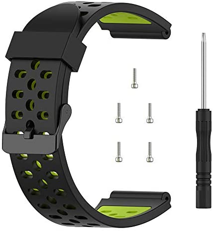 TUSITA Band for Bushnell Neo Ion 1 , Ion 2 , Excel – Silicone Replacement Strap Bracelet Wristband – Golf GPS Smart Watch Accessories (Black+Green)