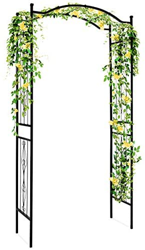 Best Choice Products Decorative Steel Garden Arch Arbor Trellis for Climbing Plants w/ 92-inch Height and Wire Lattice, Black