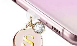 ELISE & FONDA TP19 New Type-C USB Charging Port Anti Dust Plug Cute Round Initial letter S Pendant Cell Phone Charm for Samsung Galaxy/Huawei/OnePlus/Xiaomi/oppo New Android Phones(Blanchedalmond)