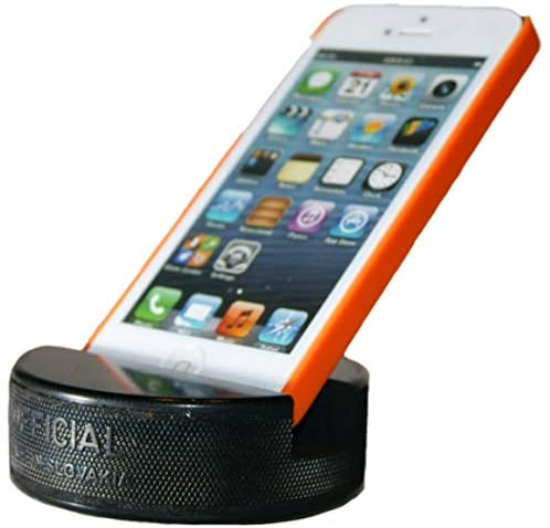 PUCKUPS – The Original Indestructible Hockey Puck Phone Stand – The Best Universal Smartphone Stand Compatible for All iPhone/Samsung/Google/LG Smartphones. Made from a Real Hockey Puck (2 Pack)