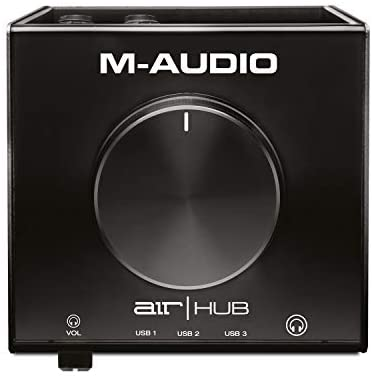 M-Audio AIR|HUB – USB Audio Interface with 3-Port Hub and Recording Software from Pro-Tools & Ableton Live, Plus Studio-Grade FX & Instruments