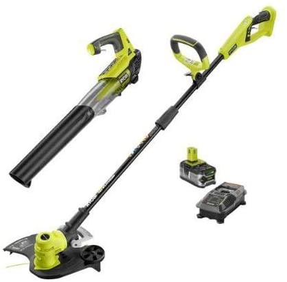 Ryobi ONE+ 18-Volt Lithium-Ion Cordless String Trimmer/Edger and Jet Fan Blower Combo Kit – 4.0 Ah Battery/Charger Included/Tools Included: String Trimmer and Jet Fan Blower