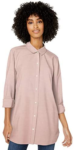 Amazon Brand – Goodthreads Women's Washed Oxford Long-Sleeve Button-Front Tunic Shirt
