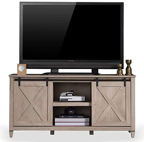 Sekey Home Sliding Barn Door TV Stand | Entertainment Center | TV Console for 58″ for Flat Screen TV's Up to 65″,Light Oak