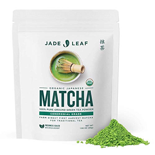 Jade Leaf Organic Ceremonial Grade Matcha Green Tea Powder – Authentic Japanese Origin – Teahouse Edition Premium First Harvest (1.06 Ounce)