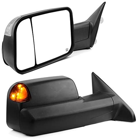 YITAMOTOR Towing Mirrors Compatible with Dodge Ram, 2009-2015 Ram 1500, 2010-2015 Ram 2500 3500 with Power Heated Led Turn Signal Light Puddle Lamp