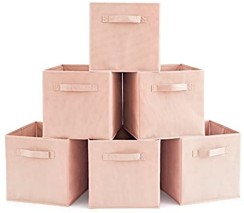 Set of 6 Basket Bins- EZOWare Collapsible Storage Organizer Boxes Cube For Nursery Home – Pale Dogwood