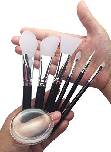 JJMG 7pcs Clear Silicone Makeup Brush Applicator Sponge Perfect for Eye Blush Lips BB CC Cream Foundation Concealer Blending Air Cushion Cosmetics Blender (Set of 7 Silicone Brush & Silisponge)