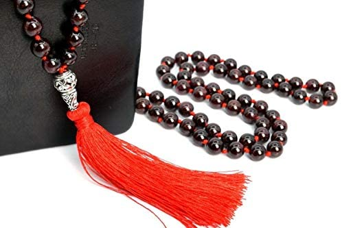 Beads – Jewelry Making – Beading – DIY Crafting 8MM 108 Pcs Wine Red Garnet Mala Tassel Necklace A Natural Round 41″