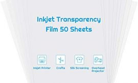 Inkjet Transparency Paper Sheets, Anezus 50 Pack Printable Transparent Film Quick Dry Clear 8.5 x 11 Inches Transparencies Clear Paper for Inkjet Printer Screen Print