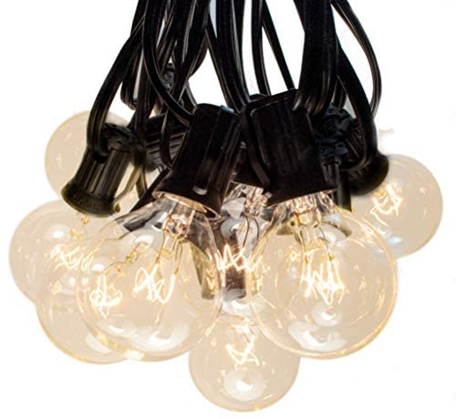 50 Foot Globe String Lights – Black Wire – 50 G40 Clear Bulbs (+ 2 Free Spares) for Patio Deck Cafe Bistro and Outdoor Lighting