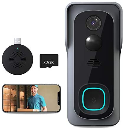Video Doorbell Camera(32GB Sd Card Include), Lefun 1080P 2.4G WiFi Wireless Security Door Bell with Chime, Smart Waterproof Door Camera, Motion Detect/2-Way Audio/Night Vision/Wide View