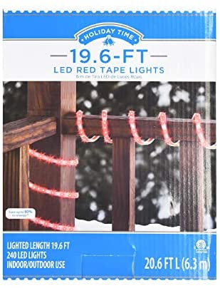 Holiday Time 19.6 ft. Lighted Length LED Red Tape Light