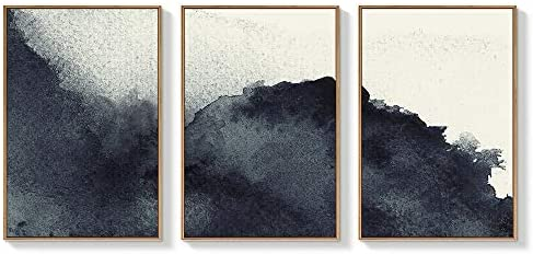 NWT Framed Canvas Wall Art for Living Room, Bedroom Abstract Zen Canvas Prints for Home Decoration Ready to Hanging – 24″x36″x3 Panels