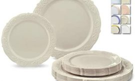 """"""" OCCASIONS """" 240 Plates Pack,(120 Guests) Vintage Wedding Party Disposable Plastic Plates Set -120 x 10.25"""" Dinner + 120 x 7.5"""" Salad / Dessert Plate (Portofino Ivory)"""