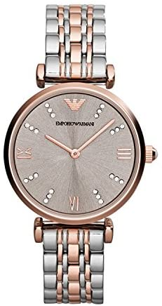 Emporio Armani AR1840 Ladies Gianni T-Bar Steel and Rose Gold Watch