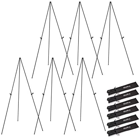 Nicprp Folding Easels for Display,6 Pack 63 Inch Metal Floor Easel Stand Tripod Black Portable for Artist Poster Wedding with Carry Bag