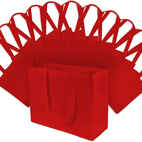 Large Red Reusable Grocery Bags, Shopping Bags With Handles, Gift Bags, Merchandise Bags, Fabric Tote Bags, Foldable, Strong And Eco Friendly 12 Pcs. 16x6x12″