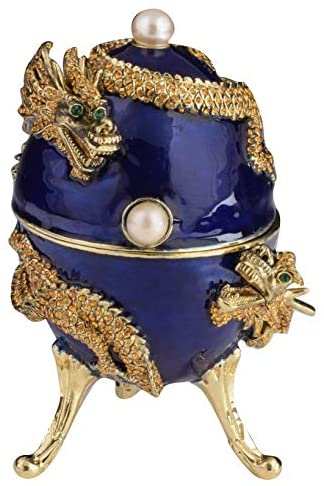 Keren Kopal Blue Russian Egg with Dragon Music Playing Trinket Box Faberge Egg Japanese Culture Gift Idea Easter Egg Limited Edition