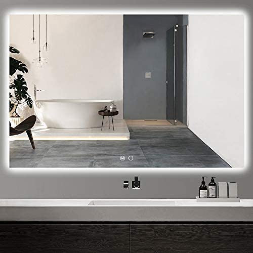 Keonjinn 55 x 36 inch LED Backlit Mirror Bathroom Vanity Mirror Dimmable Wall Mounted Lighted Mirror Anti-Fog Large Makeup Mirror with Lights (Horizontal/Vertical)