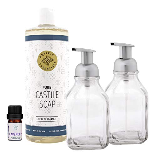 Prairie Essentials Foaming Hand Soap Making Kit with Castile Soap 32oz – Lavender Essential Oil – 2 Pack Glass Foam Soap Dispeners with Custom Soap and Chalk Stickers and Extra Pump – Brushed Nickel