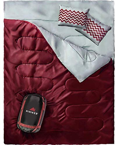 HiHiker Double Sleeping Bag Queen Size XL -for Camping, Hiking Backpacking and Cold Weather, Portable, Waterproof and Lightweight – 2 Person Sleeping Bag