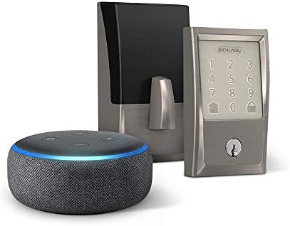 Schlage Encode Smart WiFi Deadbolt with Century Trim In Satin Nickel and Echo Dot (3rd Gen), Charcoal – Items Ship Separately
