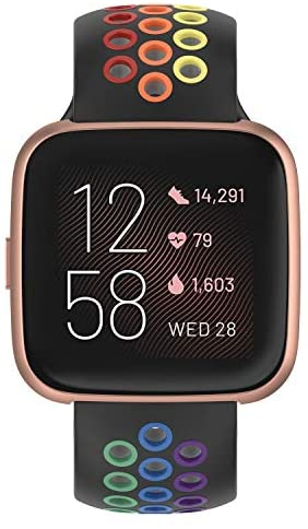 Geageaus Sport Bands for Fitbit Versa/Versa 2/Versa Lite/Fitbit Versa SE- Soft Silicone Waterproof Wristband Replacement Breathable Straps Accessories Bands for Men Women (Black/Colorful)