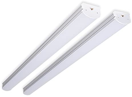 (Pack of 2) Barrina 4ft 45 Watt Extendable Utility LED Shop Light Workbench Light 6500K Super Bright White 4500lm 300W Equivalent Built-in ON/Off Switch Frosted Linear LED Light Bar