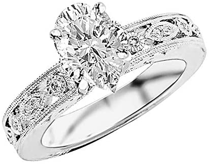 1.75 Ctw 14K White Gold Antique/Vintage Bezel Set Designer Diamond Engagement Ring With Milgrain Pear Shape (1.5 Ct F Color SI1 Clarity Center Stone)