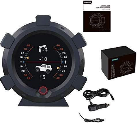AUTOOL X95 GPS Slope Meter HUD Digital Inclinometer GPS Car Head Up Display Car Level Tilt Gauge with Function of Date & Time, Speedometer,Battery Voltage,Mileage Measurement for All DC5-28V Cars
