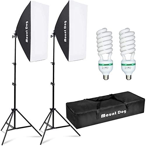 MOUNTDOG Softbox Lighting Kit Photography Studio Light 20″X28″ Professional Continuous Light System with E27 95W Bulbs 5500K Photo Equipment for Filming Model Portraits Advertising Shooting