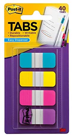 Post-it Tabs.625 in Solid, Aqua, Yellow, Pink, Violet, 10/Color, 40/Dispenser (676-AYPV)