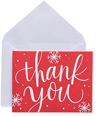 American Greetings Holiday Thank You Cards and Envelopes, Red Snowflake (25-Count)