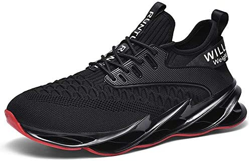 MALAXD Men's Fashion Mesh Wave Hollow Outsole Sneakers Athletic Road Running Shoes