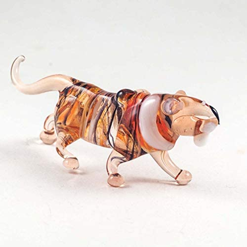 Tiger Small Glass Figurine Hand-Blown Art Collectible Figures