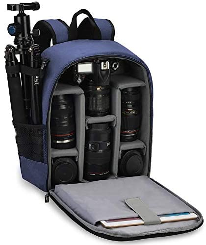 CADeN Camera Backpack Bag Professional for DSLR/SLR Mirrorless Camera Waterproof, Camera Case Compatible with Sony Canon Nikon Camera and Lens Tripod Accessories (Small-Blue)