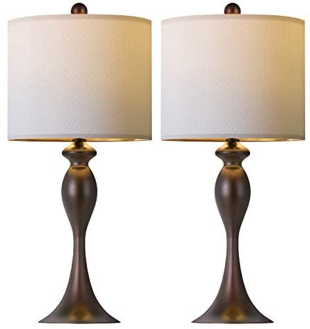 OYEARS Modern Table Lamps Set of 2 for Bedroom Nightstand Lamp for Living Room Bedside Table Lamp with Linen Lamp Shade Brown