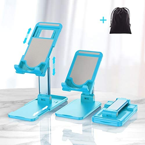 Cell Phone Stand for Desk, Hapfish Adjustable Tablet Cellphone Holder for Video, Foldable Office Accessories for iPhone 11 Pro Xs Max Xr X 8 7 6 6s Plus, iPad, Switch, Charging Dock (Blue)