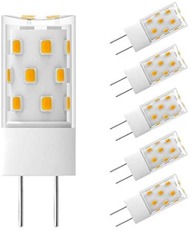 GY6.35 LED Bulb 5W Equivalent to 50W Halogen Incandescent Replacement Bulbs, T4 JC Type G6.35/GY6.35 Bi-pin Base, AC/DC 12V Warm White 2700K-3000K Light Bulb (5 Pack)