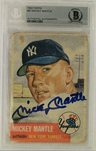 Mickey Mantle New York Yankees HOF Autographed 1953 Topps #82 Card Beckett – Baseball Slabbed Autographed Cards