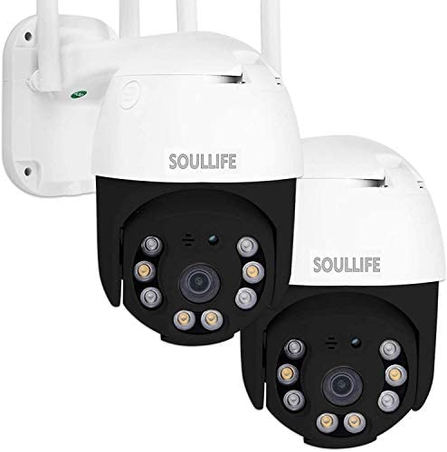 SoulLife Security Camera Outdoor, 1080P HD Home Surveillance IP Camera with Pan/Tilt Waterproof Night Vision 2-Way Audio Motion Detection Activity Alert, Support Max 128G Micro SD Card, 2 Pack, Black
