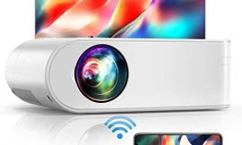 Projector, YABER V2 WiFi Mini Projector 5500 Lux [Projector Screen Included] Full HD 1080P and 200″ Supported, Portable Wireless Mirroring Projector for iOS/Android/TV Stick/PS4/PC Home & Outdoor