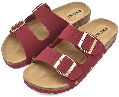 Womens Flat Slide Sandals with Arch Support 2 Strap Adjustable Buckle Slip on Slides Shoes Non Slip Rubber Sole