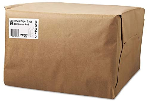 General 1/6 52# Paper Bag, 52-Pound Base Weight, Brown Kraft, 12 x 7 x 17, 500-Bundle