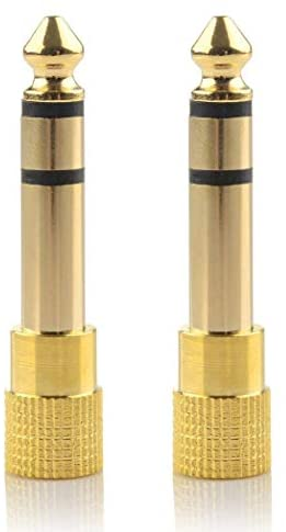 6.35mm Male to 3.5mm Female Headphone Stereo Audio Connector Gold Plated (2 Pack)