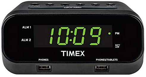 Timex T129B RediSet Dual Alarm Clock with Dual USB Charging and Extreme Battery Backup – Black