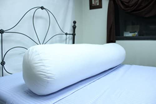 Soft Queen Sized White Poly/Cotton Cylinder Shaped Hypoallergenic Virgin Polyester Body Pillow