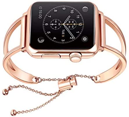 WONMILLE Bracelet for Apple Watch Band 38mm 42mm, Classy Stainless Steel Cuff Jewelry iWatch Bands Strap Wristbands Unique Fancy Style for Women Girls with Pendant and Tassel
